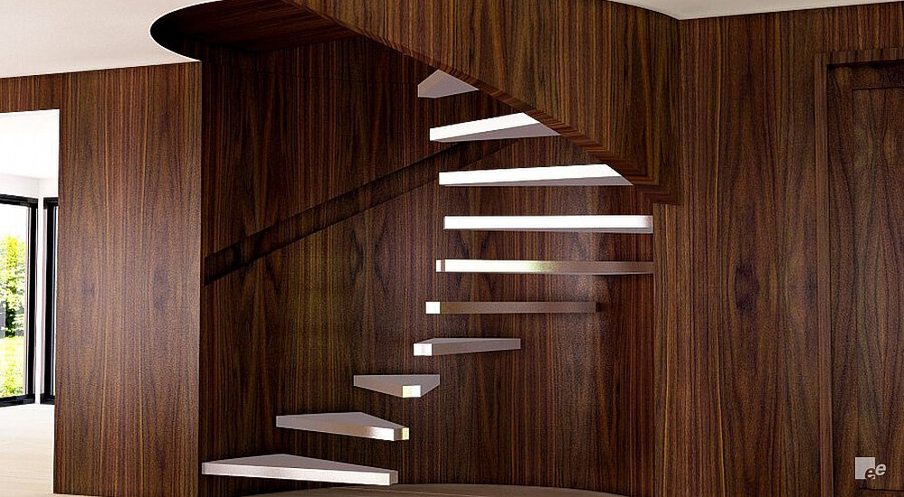 A floating staircase without pivot above a laminate floor, in a stairwell with wooden wall.