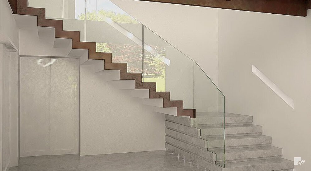 A staircase with a rusty finish on the side starts above a marble floor with a landing.