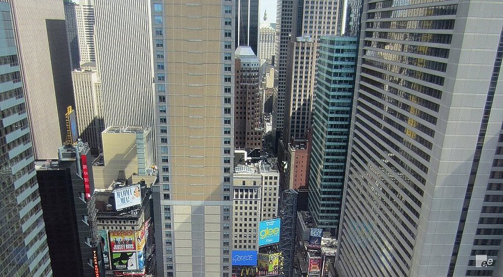View of the Rockefeller Center, traffic and billboards in the centre of Manhattan in New York.