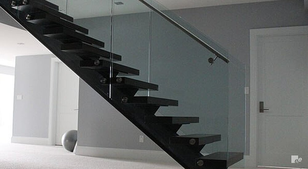 A Straight Staircase, Carpet Floor And Flat Door In The Offices Of A  Contractor In ...