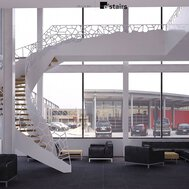 office space with sofas and fauteuils, a glass façade, a winding staircase and view of cars.