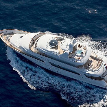 The luxury yacht MS Northlander at sea, with navigational device and a swimming pool, among other things, on board.