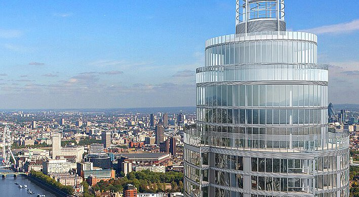 The Vauxhall tower in South London, with a view of the city and a bridge over the Thames.