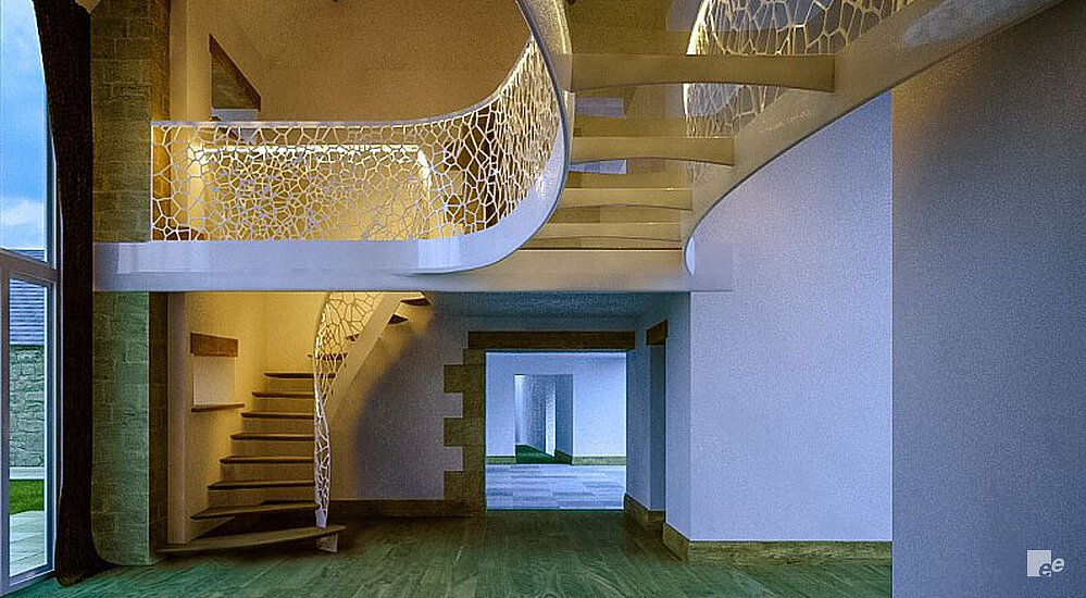 A residence with wooden floor and wooden beams, a winding staircase, a balustrade with cell motif and a peek-through.