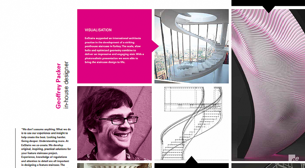 A screenshot of multiple text frames and pictures, with, among other things, a person, balustrades and stairs.