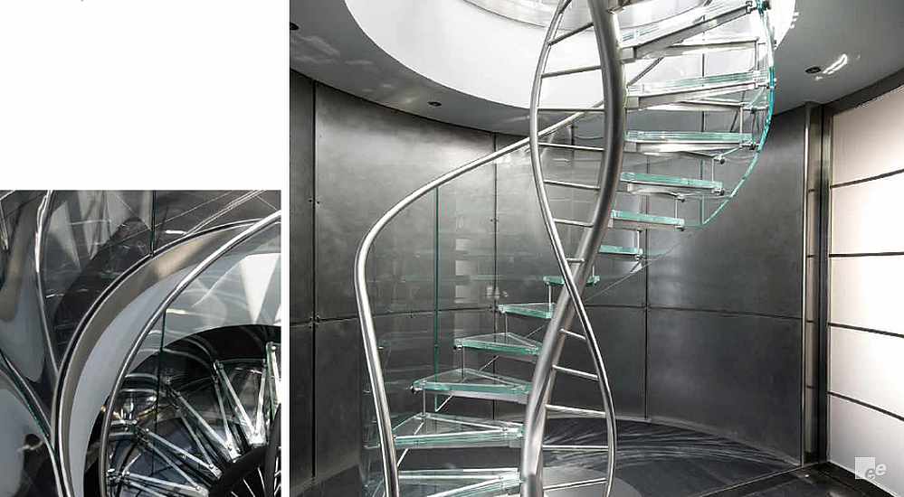 A screenshot of two illustrations of a turned spiral staircase in a stairwell and in front of a metallic wall.